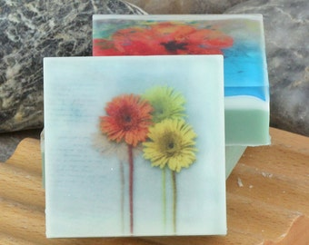 Summer Muted Florals Series - Set II Graphic Art Soap - Set of 3 Guest Size Square Soaps