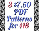 Get 3 PDF 7.50 Dollar Digital Sewing Patterns for only 18 Dollars Deal