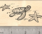 Baby Sea Turtle with Starfish Rubber Stamp, Ocean Scene K21608 Wood Mounted