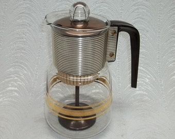 Sale: UNUSED Vintage Mid Century Modern CORY Percolator DG PL3...Anodized Copper Lid
