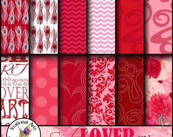 INSTANT DOWNLOAD Scarlet Lover set 1 Digital Scrapbooking Papers 12 jpg files love words peacock feathers damask flowers swirls chevron
