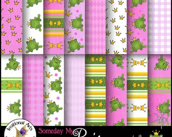 Someday My Prince Will Come set 2 INSTANT DOWNLOAD with 16 jpg digital papers for scrapbooking with frog prince