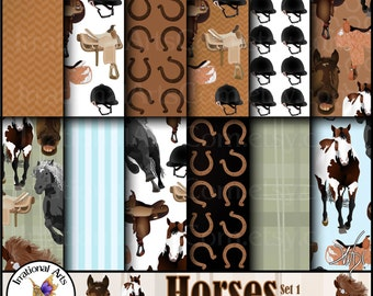 Horses Set 1 - digital papers patterned with horses, saddles, and helmets {Instant Download}