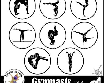 Female Gymnasts Silhouettes Set 3 - 4 inch circles of 8 png gymnastics clipart graphics {Instant Download}