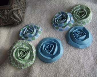 Scrapbook Flowers...6 Piece Set of Very Pretty Pool Party Scrapbook Paper Flower Rolled Roses
