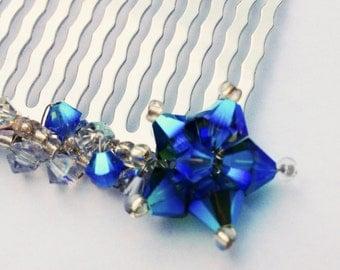 Star Hair Comb - Shooting Star - Metallic Blue Silver Swarovski Crystal Hair Accessory