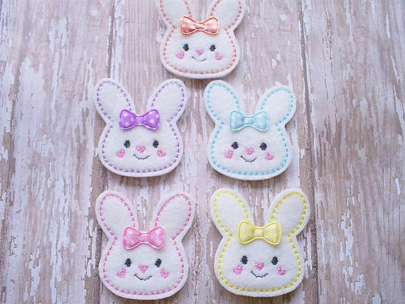 Bunny Felt Appliques, Bunny Embroidered Appliques, Easter Appliques, Set of 5 Bunny Appliques