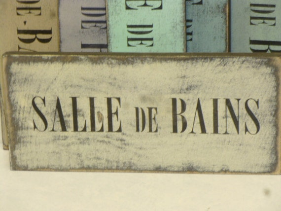Salle de bains sign le bain sign french bathroom sign for Salle de bain door sign