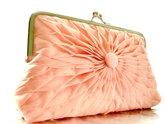Pink Peach Chiffon Button Clutch - Size Large - MADE TO ORDER