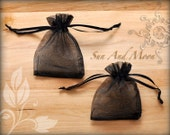 10 Black Organza Bags 3 x 4 Inch Sheer Fabric Favor Bags For Parties, Wedding Favors, Baby Showers, Bridal Showers, Jewelry Pouches- Sachets