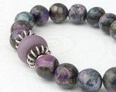 Natural Rainbow Terra Jasper Lampwork Glass Bead Sterling Silver Bead Stretch Bracelet