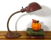 Vintage Industrial Gooseneck Lamp Dark Red cast iron base Boardwalk Empire Art Deco 20s 30s