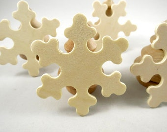 25 Wood Snowflakes - Shapes, 3 inch x 1/8 inch Unfinished Wooden Primitive Snowflakes for DIY