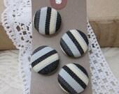 4 Handmade Black Stripe Buttons