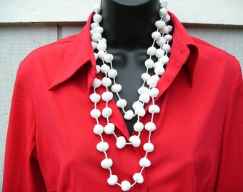 White Japanese Chirimen Pearl Necklace