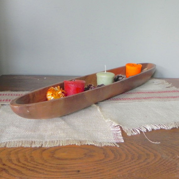 Wood Trough Centerpiece : Vintage wooden gondola bowl tray trough centerpiece for fruit