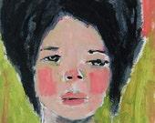 Digital Print. Woman Portrait Painting. Pink & Green Girl Print. Living Room Art Gift