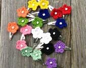 20 Crochet Flower Mini Clips, Your Choice of Colors, Wholesale