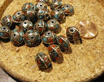 Turquoise Coral Brass Bead - Nepal - 2pcs.
