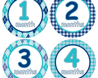 12 Monthly Baby Milestone Waterproof Glossy Stickers - Just Born - Newborn - Weekly stickers available - Design M029-04