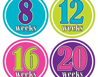 12 Weekly Pregnancy Mama-to-be Maternity Waterproof Glossy Stickers  - Monthly stickers available - Design W009-02