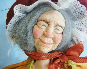 Halloween Art doll  Granny Good Witch  Posable OoAk by Moninesfaeries