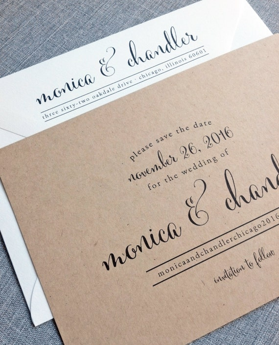 Monica Calligraphy Script Recycled Kraft Wedding Save The
