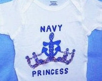 Navy Princess Baby One Piece, Navy Baby Girl Bodysuit, Nautical Baby, Military Princess One Piece