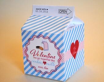 DIGITAL Be My Valentine Cookies and Milk Carton - Blue & White Stripes, Hearts, Dark Pink - Unique Treat Box
