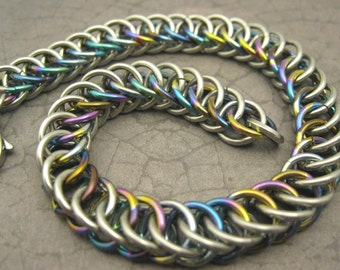 Oil Slick - Steel and Niobium Mens or Womens Bracelet