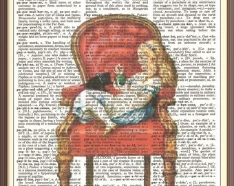 Alice in Wonderland with cat on Red Chair----Vintage Dictionary Art Print