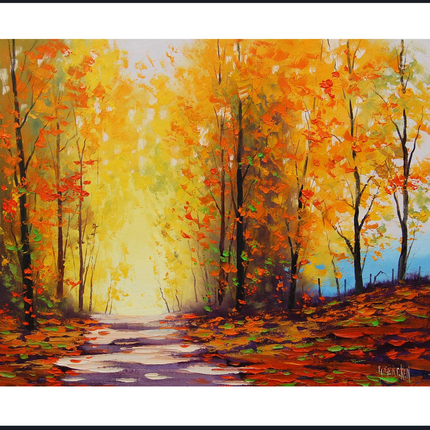 Yellow autumn painting golden fall trees painting art road for Autumn tree painting
