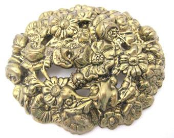 Vintage Brass Repousse Brooch - Art Nouveau Flowers