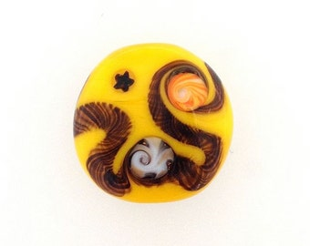 Yellow Lamp Work Glass Bead Unset for Designers by Kate Drew-Wilkinson