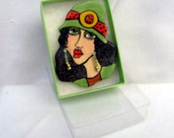 Ceramic Brooch Handcrafted Handpainted Ceramic Sophisticated Face Lady Head Pin Coral and Mint Green on Etsy