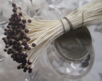 Stamen Millinery Flower Stamen Czech Peps 144 Stems Mulberry Brown And Ivory  CZ 50