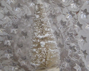 2 Snowy Ivory Bottle Brush Trees 4 Inch Christmas Trees