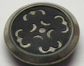 2 Rare VICTORIAN Cutout STENCIL Metal Steel Aluminum BUTTONS Mourning Crescent Moon Cross