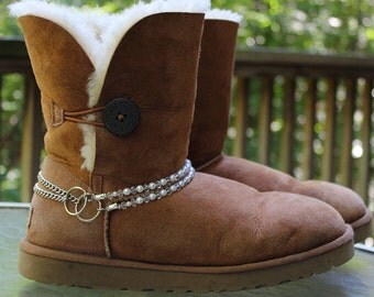 Swarovski Crystal & Pearl Ankle Jewelry Boot Chains for Ugg Style Boot