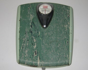 Vintage Borg Bathroom Scale Two Tone Marbled Green