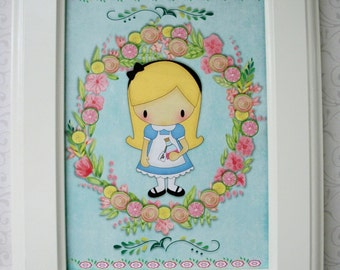 ALICE in WONDERLAND  - Colorful Kids WaLL ArT - 5 x 7 - set of 5 - Click on All Photos  - FAWA 896