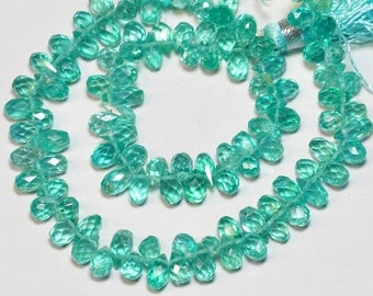 Teal Blue Apatite Faceted Teardrop Briolette Bead 10 INCH Strand