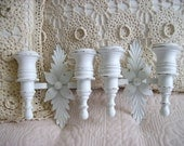 2 Shabby  Cottage Chic Vintage Double Arm Wall Sconces