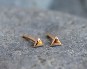 Simple Modern 2mm 14k Solid Rose Gold Recycled Geometric Triangle Stud Earrings Jewelry Tiny Dainty Mountain