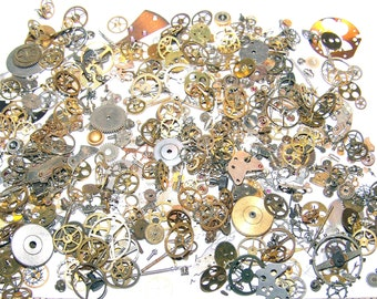 As SHOWN 400 GEARS 30 Grams Vintage and New Old Stock STEAMPUNK Watch Parts Steam Punk