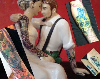 Tattooed Wedding Cake Topper . Full Bride and Groom Tattoos . Custom Painted and Personalized to Resemble You