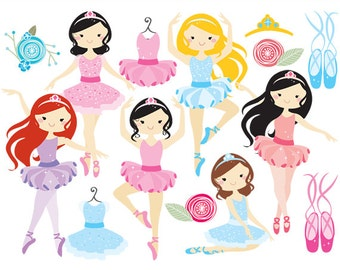 Ballerina clipart - ballerina clip art, girl, ballet, dancing, dance dresses, slippers, ballet shoes, girly, for personal and commercial use