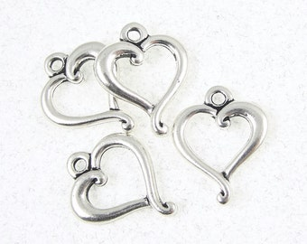 Silver Heart Charms TierraCast JUBILEE Heart Silver Charms - Antique Silver Pendant Heart Pendant for Valentine's Jewelry (P115)