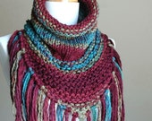 Jewel Tone Knit Triangle Cowl with Fringe - Chunky Scarf with Fringe in Green Blue Burgundy Oxblood - Original Design