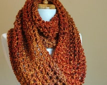 Chunky Scarf, Knit Scarf, Burnt Orange Scarf, Infinity Scarf, Womens Scarf, Fall Scarf, Winter Scarf, Knitted Circle Scarf, Hand Knit Scarf